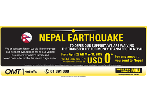 OMT - WESTERN UNION SUPPORT TO NEPAL EARTHQUAKE TRAGEDY