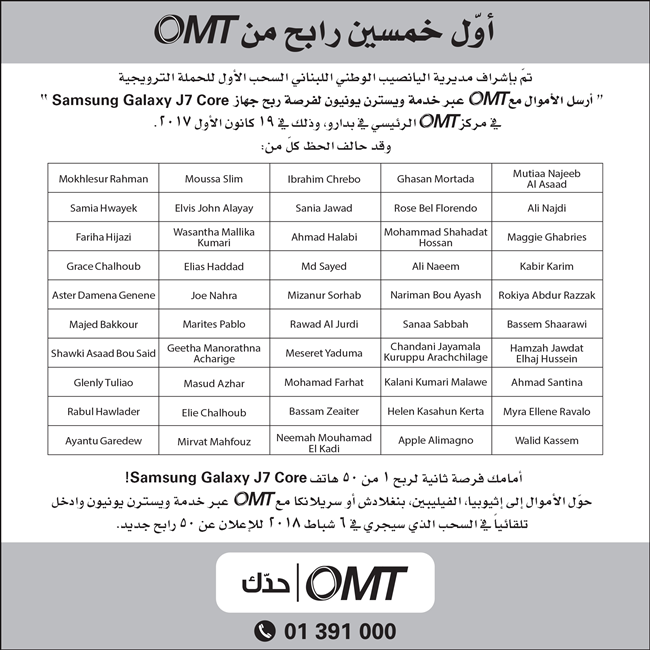 OMT WESTERN UNION PROMOTION- FIRST DRAW WINNERS